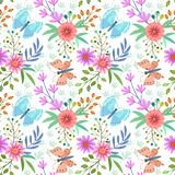 Flowers and butterfly seamless pattern. stock illustration