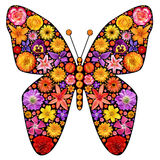 Flowers butterfly silhouette Royalty Free Stock Images