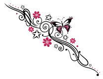 Flowers, butterfly, tendril. Black and pink tribal with butterfly Stock Photography