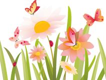Flowers and butterfly in vector Stock Image