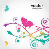 Flowers and butterfly. Vector card Royalty Free Stock Photo