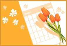 Flowers and Calender Royalty Free Stock Photos