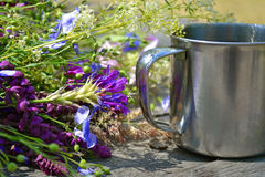 Flowers with camp mug for tourism Royalty Free Stock Image