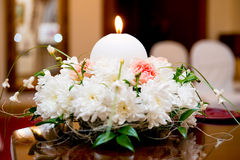 Flowers and candle Royalty Free Stock Photos