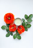 Flowers and candle. Orange flowers and leaves with candle on white background royalty free stock image