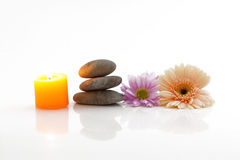 Flowers, candle, stones - spa theme Stock Image