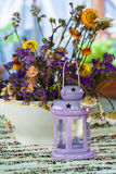 Flowers and candleholder Royalty Free Stock Images