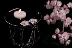 Flowers,candlelight and vase Stock Image