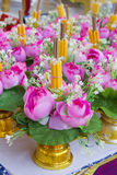 Flowers and candles for the altar Royalty Free Stock Photos