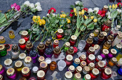 Flowers and candles in honor of those killed in the Maidan in Kiev Royalty Free Stock Image