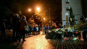 French Embassy, flowers and candles memorable memorial in Kiev, Ukraine, stock video