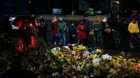 Flowers and candles memorable memorial in Kiev, Ukraine, stock footage