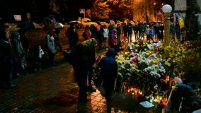 French Embassy, flowers and candles memorable memorial in Kiev, Ukraine, stock video footage