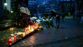 Flowers and candles memorable memorial in Kiev, Ukraine, stock video footage