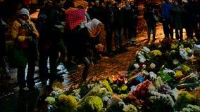 Flowers and candles memorable memorial in Kiev, Ukraine, stock video