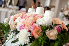 Flowers and candles Royalty Free Stock Photography