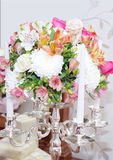 Flowers and candlestick royalty free stock photos