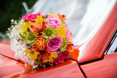 Flowers on a car royalty free stock image