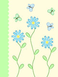 Flowers card. Blue and green pattern with flowers and butterflies Stock Images