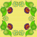 Flowers card design on yellow. Purple flowers with leaves card design on yellow Stock Image