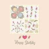 Flowers card, happy birthday Stock Images