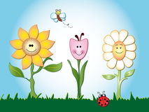 Flowers cartoon. Illustration of cartoon happy flowers  and insects Stock Photography