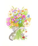 Flowers cat. A nice cat and a little mouse give you a big bouquet! It's  an hand-made illustration Royalty Free Stock Image