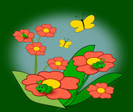 Flowers, Caterpillars and Butterflies Royalty Free Stock Photo