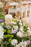 Flowers and celebratory table. Stock Photo