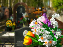 Flowers and cemetery Royalty Free Stock Photo