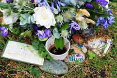 Flowers in cemetery, decoration. UK Stock Image