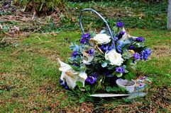 Flowers in cemetery, decoration. UK Stock Photo