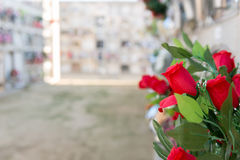 Flowers in a cemetery. Detail of a bouquet of flowers in a cemetery Royalty Free Stock Images