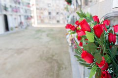 Flowers in a cemetery. Detail of a bouquet of flowers in a cemetery Stock Image