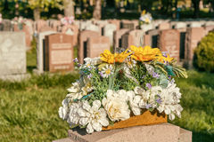 Flowers in a cemetery. With headstones in the background at sunset Royalty Free Stock Photo