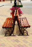 The flowers and the chair. In the sat outlet Royalty Free Stock Photos