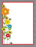 Flowers and Checks Border. A black and white checkered border featuring a spring garden with a bee and a snail Royalty Free Stock Photos