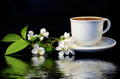 Flowers of a cherry and white cup of black coffee royalty free stock image