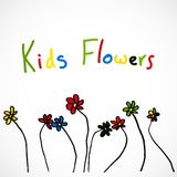 Flowers, Child's drawing. Child's drawing, set of colored flowers Royalty Free Stock Images