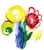 Flowers. Children's watercolor Royalty Free Stock Images