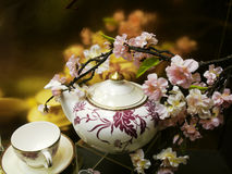 Flowers and chinaware Royalty Free Stock Photos