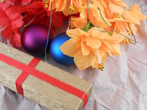 Flowers, christmas balls and golden gift box, christmas decorations Royalty Free Stock Images
