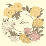 Flowers. Chrysanthemums and peonies. Vector vintage illustration. Flower frame. Floral ornament. Classic card. Botany. Royalty Free Stock Photo