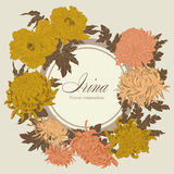 Flowers. Chrysanthemums and peonies. Vector vintage illustration. Flower frame. Floral ornament. Classic card. Botany. Stock Photography