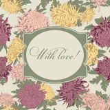 Flowers. Chrysanthemums. Vector vintage frame. Botany. Floral pattern. Vintage illustration with flowers. Classic card Stock Photo