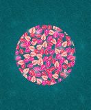 Flowers Circle Decor on Green Pattern Background Royalty Free Stock Image