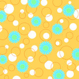 Flowers and circles. Pattern in bright colors stock illustration