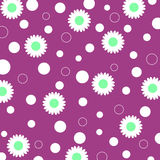Flowers and circles. Pattern on purple background stock illustration