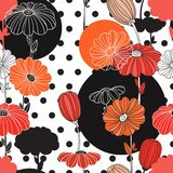 Flowers and circles. A combination of geometries and doodle elements. Flowers. Collage. Seamless pattern. Decorative image for print and fabric royalty free illustration