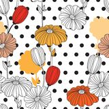 Flowers and circles. A combination of geometries and doodle elements. Flowers. Collage. Seamless pattern. Decorative image for print and fabric stock illustration